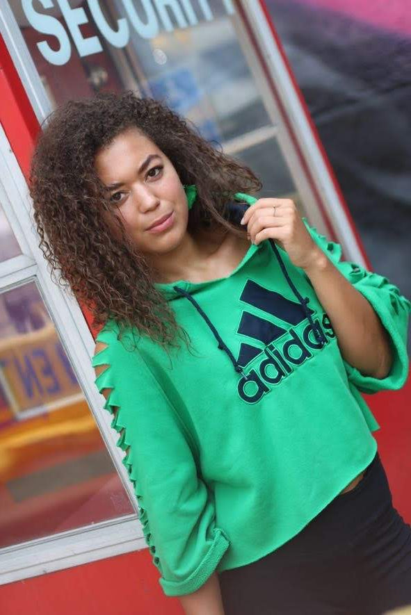 Altered Cropped Adidas Hoodie with Cutout Sleeves (Only 1)