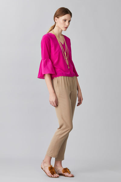 SILK TULIP SLEEVE TOP