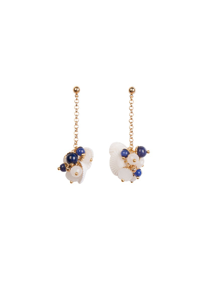 LAPIS SHELL DROP EARRINGS