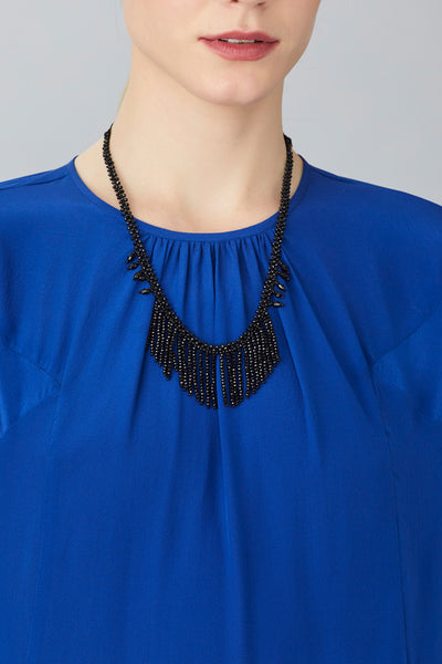 JET FRINGED NECKLACE