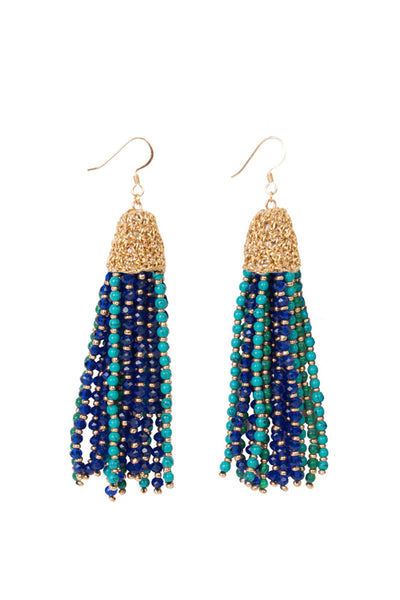 TURQUOISE JADE TASSEL EARRINGS