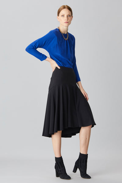 CREPE FLARED SKIRT