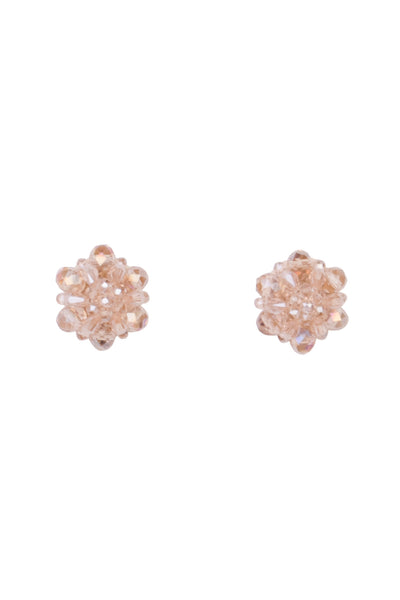 CHAMPAGNE BEADED CLIP EARRINGS