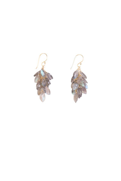 LABRADORITE CLUSTER EARRINGS SML