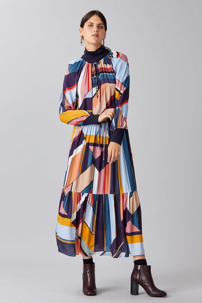GEO CHECK CREPE DRESS