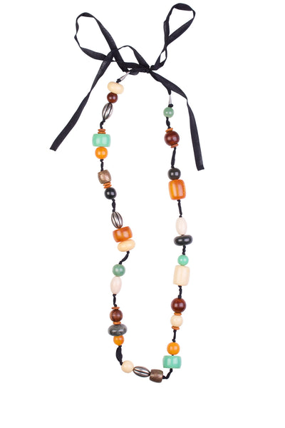 RESIN BEAD SILK NECKLACE