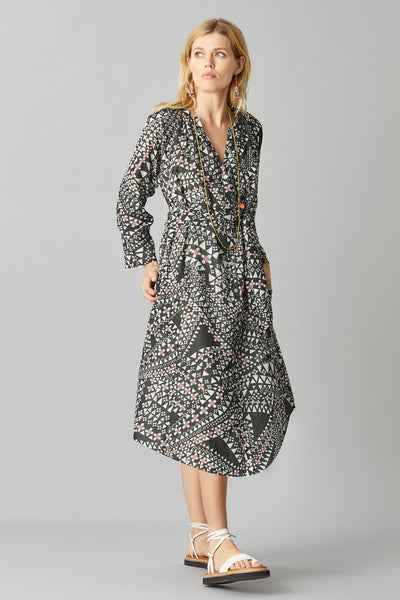FANTAIL MIDI DAY DRESS