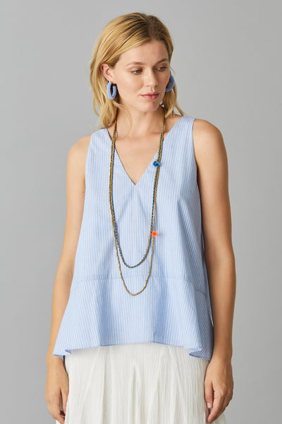 BLUE STRIPE SWING VEST
