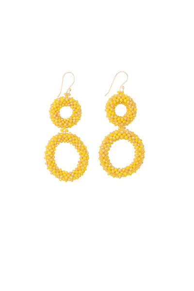 DUO HOOP BEAD EARRINGS