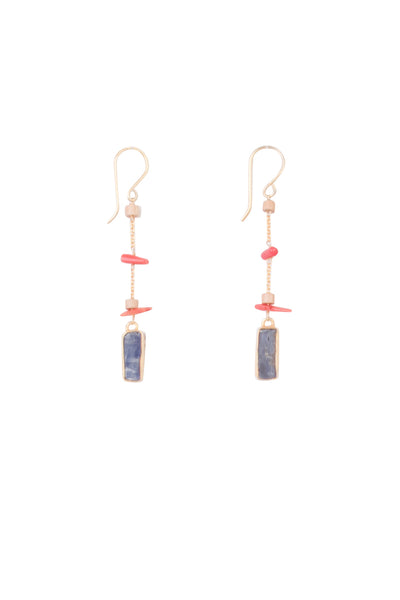 CORAL KYANITE EARRINGS