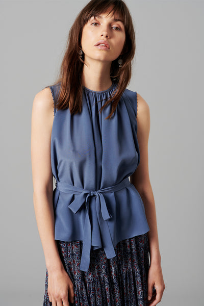 SILK BELTED TOP