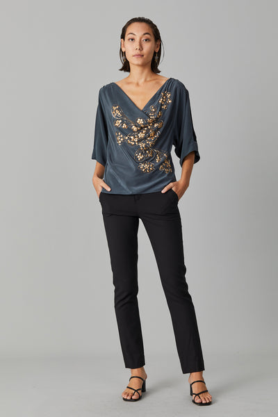 GALA SEQUIN COWL DRAPED TOP