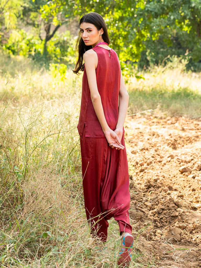 BURGUNDY JUOFF WITH CAMISOLE - rangjaipur