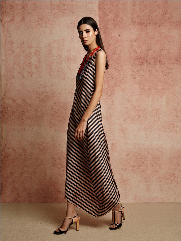 BLACK BEIGE STRIPED DRESS - rangjaipur