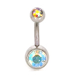 316L Stainless Steel Navel Piercing Double Gem Belly Button Ring Body Jewelry Basic Piercing