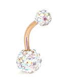 316L Stainless Steel Multi Crystal Design Banana Navel Belly Ring