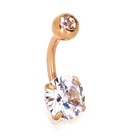 316L Stainless Steel Zircon Prong Setting Design Banana Navel Belly Ring