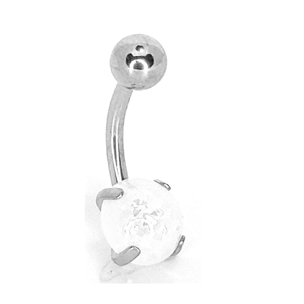 316L Stainless Steel  Opal Prong Setting Design Banana Navel Belly Ring