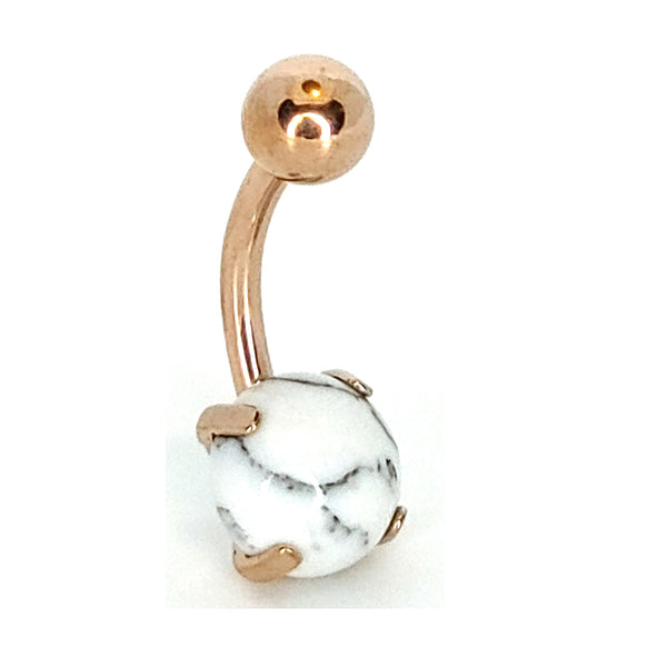 316L Stainless Steel White Howlite Stone Prong Setting Design Banana Navel Belly Ring
