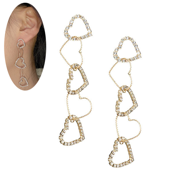 Alloy Bling Heart Geometric Chain 925 Silver Post Drop Earrings.