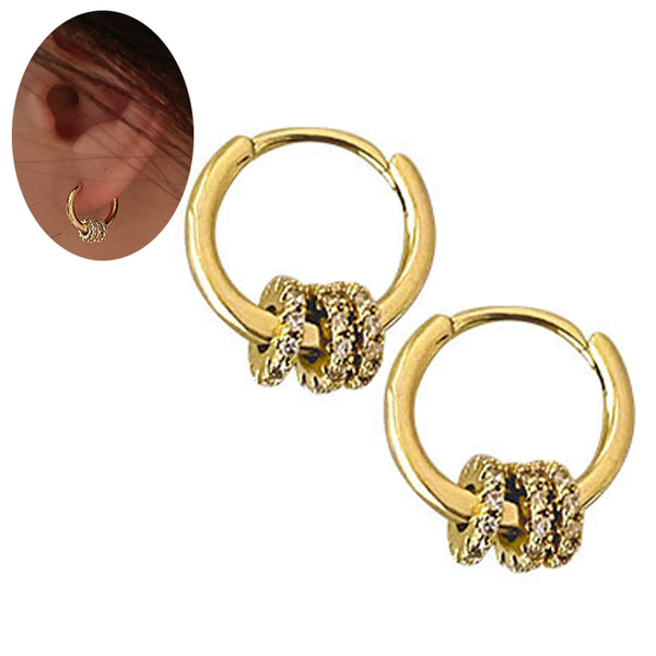 Alloy Circle Geometric Huggie Hoops Earrings.