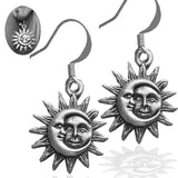 Asymmetrical Celestial Vintage Silver Hook Sun and Moon Earrings.