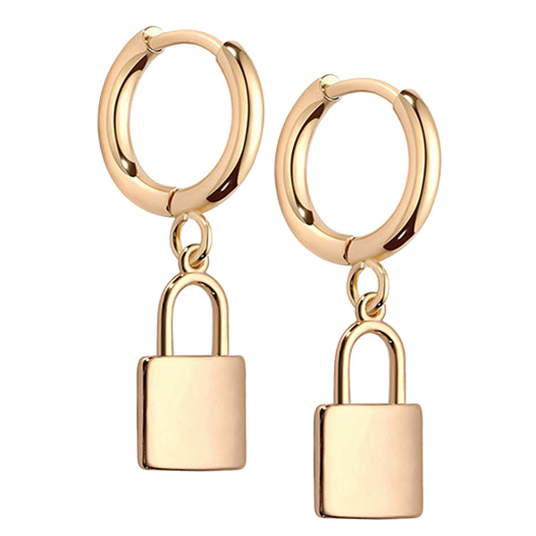 14K Gold Plated Brass Lock Charm Huggies Hoops Earring.