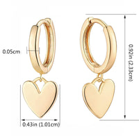 14K Gold Plated Brass Heart Charm Huggies Hoops Earrings.