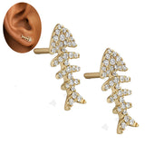 Alloy Rhinestone Crystal Fish Bone Design Stud Earrings.