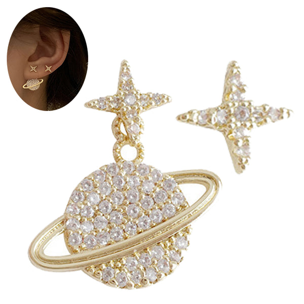Alloy Bling Simple Earth Star Design Gold Plated 925 Silver Post Stud Earrings.