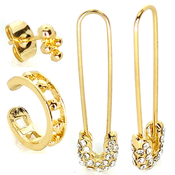 4pcs/Set Safety Pin Studs  Gothic Fashion CZ Earrings Jewelry Ear Cuff