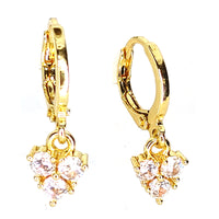 14K Gold Plated Brass 3 Prong Zircona Huggies Hoops Earrings