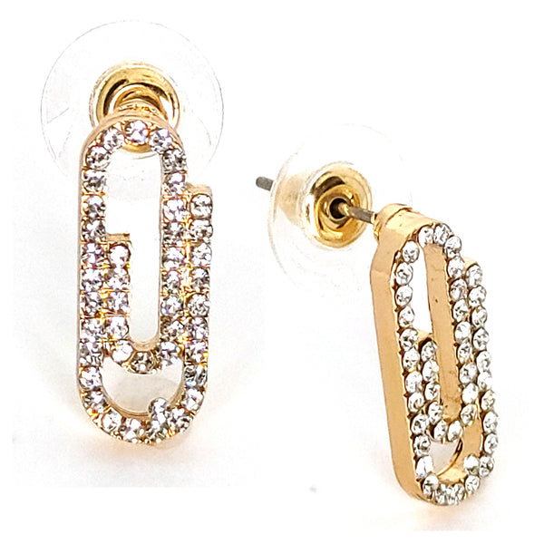 Alloy Rhinestone Crystal Paper Clip Design Stud Earrings