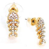 Alloy Rhinestone Crystal Fish Bone Design Stud Earrings