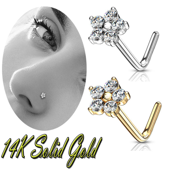 14k Solid Gold L  Bend Nose Ring L Shape Nose Stud Ring CZ Flower Top.