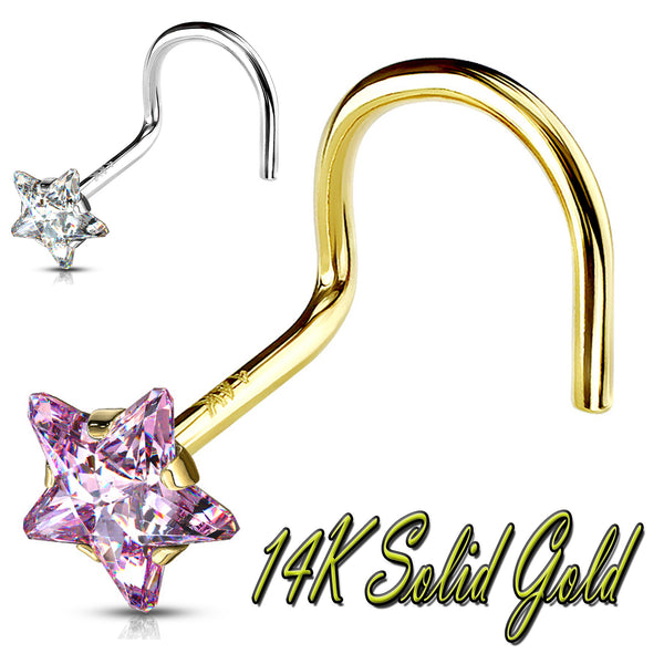 14k Solid Gold Star Prong Setting CZ Nose Screw Ring.