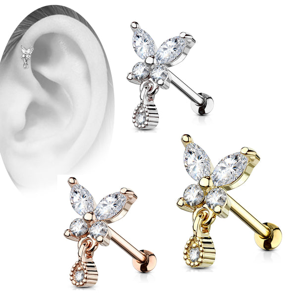 316L Surgical Steel Brass CZ Butterfly with Tear Drop Dangle, Cartilage, Tragus BarbellStud.