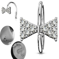 Brass CZ Paved Bow Tie Bendable Nose Hoops, Cartilage Hoops Ring.