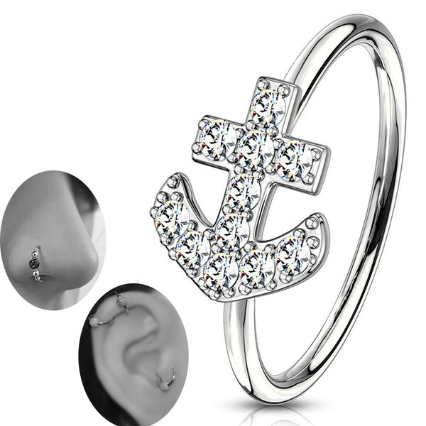 Brass CZ Paved Anchor Bendable Nose Hoops Cartilage Hoops Rings.