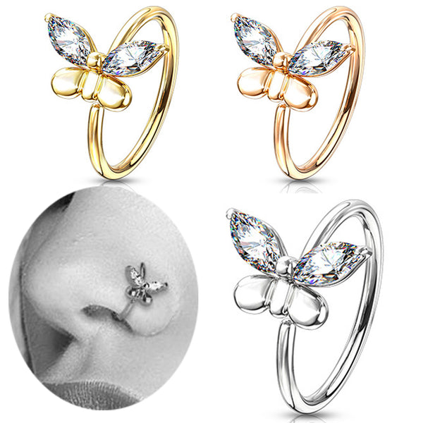 Brass CZ Butterfly Bendable Nose Hoops Cartilage Hoops Ring Piercing.