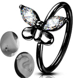 Brass CZ Butterfly Bendable Nose Hoops Cartilage Hoops Ring Piercing