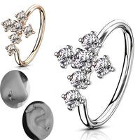 Brass CZ Cross Bendable Nose Hoops, Cartilage Hoops Ring.
