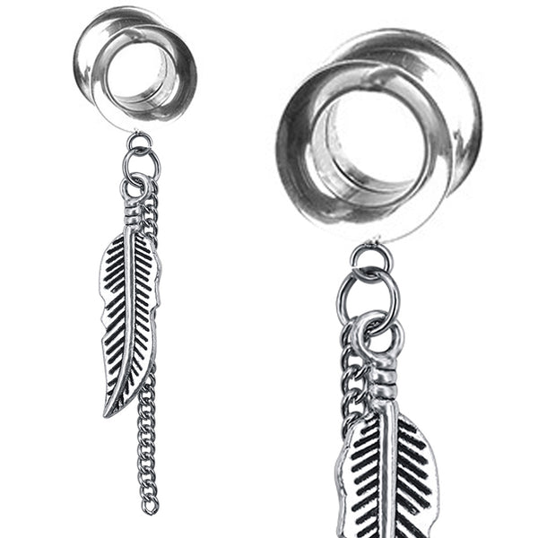 316L Stainless Steel Vintage Chain Dangle Pendant Leaf Double Flare Earrings Plugs.