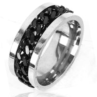 Stainless Steel Titanium Steel Twist Chain Finger Rotating Twist Band Ring.