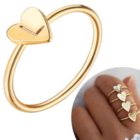 "Copper 4 Pieces Cute Finger Accessories Gold Plated ""LOVE"" Engrave Rings Adjustable Initial Letter Heart Rings."
