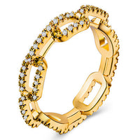 Brass Zircon Cuban Link Chain Finger Ring.