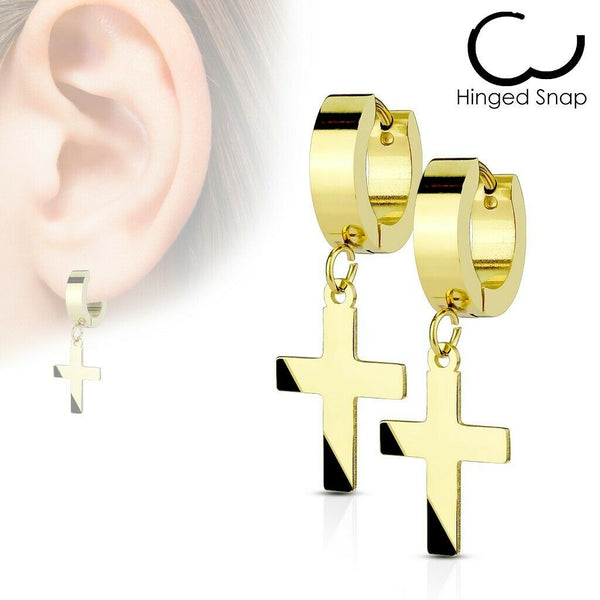 316L Stainless Steel Hinged Hoops Huggies Earring with Dangle Cross.