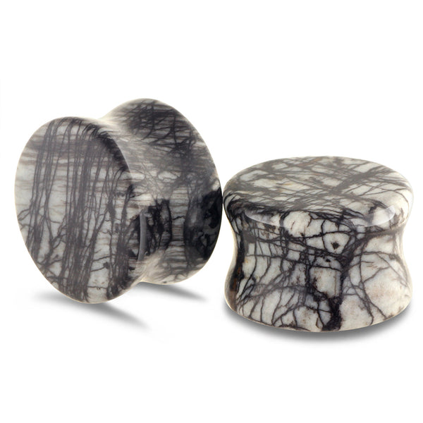 Black Nature Stone Jasper Double Flared Flesh Tunnel Nature Stone Ear Gauges Plugs.