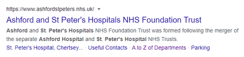 Google search results showing Ashford and St Peters Hospital Trust