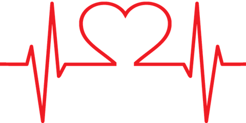 A red line which rises and falls like a patient's heart beat with a heart in the centre.
